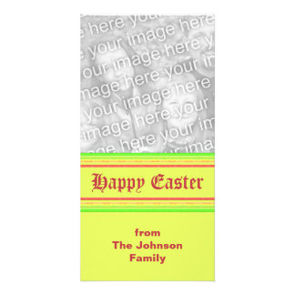 yellow green pink Happy Easter Photo Card Template