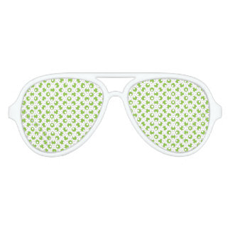 Yellow Green Polka Dots Aviator Sunglasses