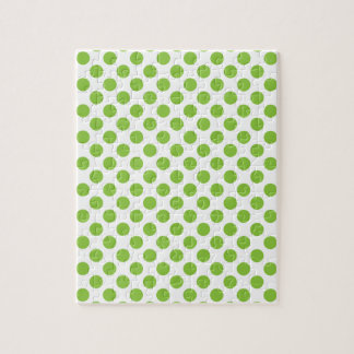 Yellow Green Polka Dots Jigsaw Puzzle