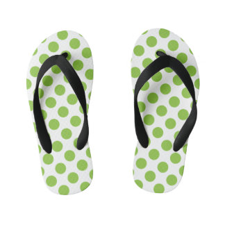 Yellow Green Polka Dots Kid's Thongs