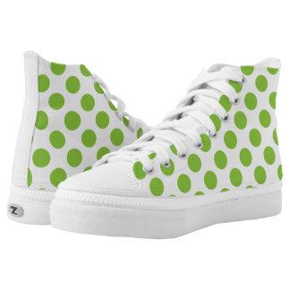 Yellow Green Polka Dots Printed Shoes