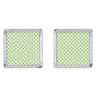 Yellow Green Polka Dots Silver Finish Cuff Links