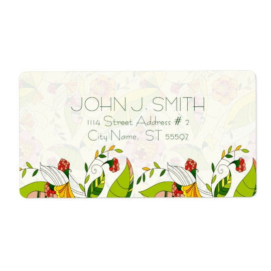 Yellow & Green Retro Abstract Floral-Address Label Shipping Label