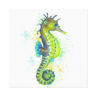 Yellow Green Seahorse splash Canvas Print