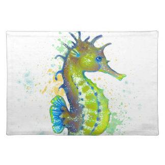 Yellow Green Seahorse splash Placemat