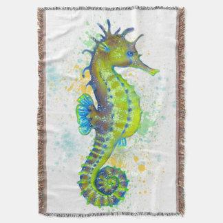 Yellow Green Seahorse splash Throw Blanket