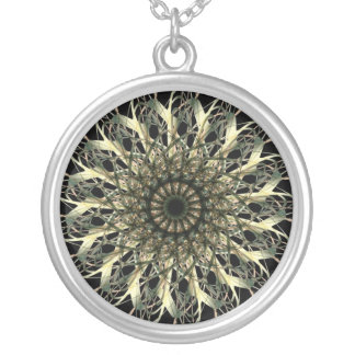 Yellow/Green Spirograph Silver Plated Necklace