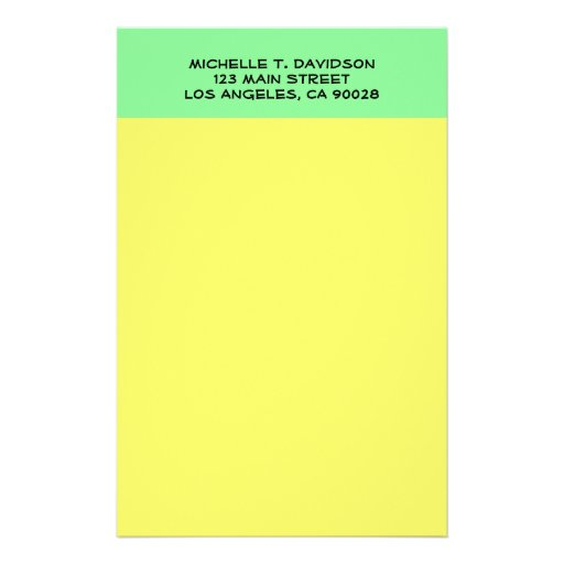 yellow green stationery