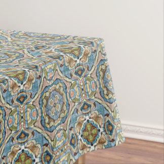 Yellow Green Teal Blue Orange Bali Batik Pattern Tablecloth