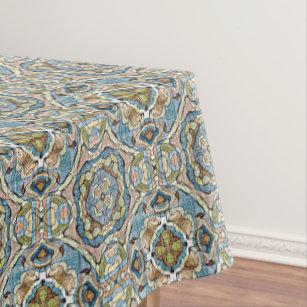 Yellow Green Teal Blue Orange Hip Orient Bali Art Tablecloth