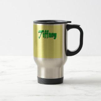 Yellow & Green travel mug for Tiffany