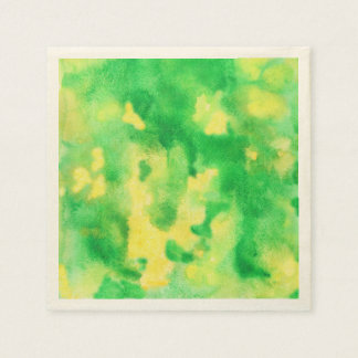 Yellow Green Watercolor Cocktail Paper Napkins