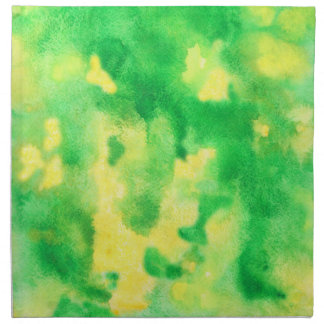 Yellow Green Watercolor Dinner Cloth Napkins
