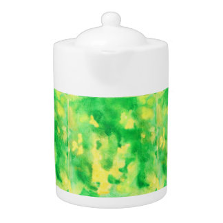 Yellow Green Watercolor Medium Teapot