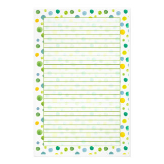 Yellow Green Watercolor Polka Dots Lined Stationery