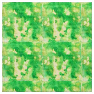 Yellow Green Watercolor Polyester Poplin Fabric