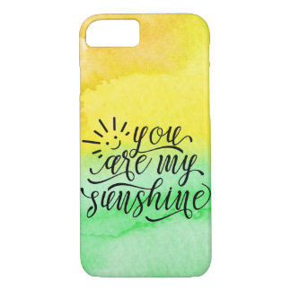 Yellow Green Watercolor You Are My Sunshine Case