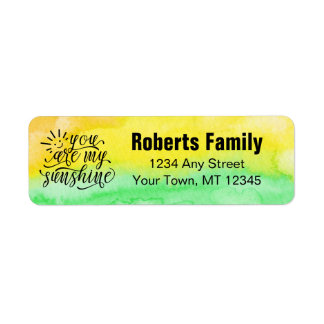 Yellow Green Watercolor You Are My Sunshine Return Address Label