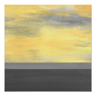 Yellow Grey Abstract Modern Poster