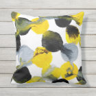 Yellow, Grey and Black Intertactions Pattern Outdoor Cushion