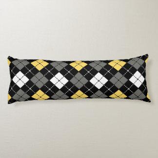 Yellow Grey and White Argyle Pattern Body Cushion