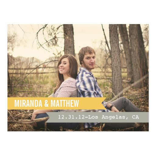 Yellow & Grey Banners  Save The Date Post Card