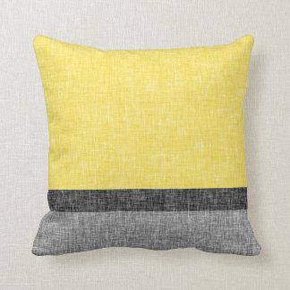 Yellow Grey Black Stripes Digital Burlap Pattern Throw Cushion