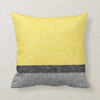 Yellow Grey Black Stripes Digital Burlap Pattern Throw Pillow