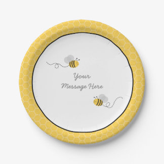 Yellow & Grey Bumble Bee Baby Shower 7 Inch Paper Plate