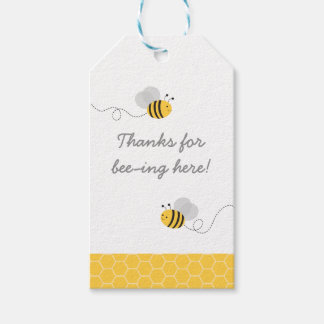 Yellow & Grey Bumble Bee Party Favor Gift Tags
