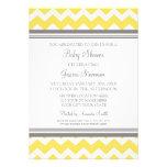 Yellow Grey Chevron Custom Baby Shower Invitations