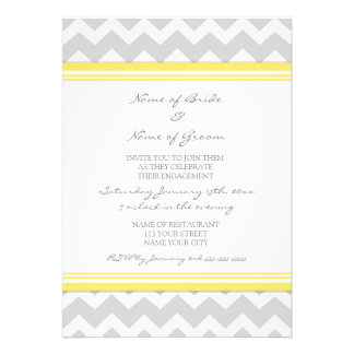 Yellow Grey Chevron Engagement Party Invitations