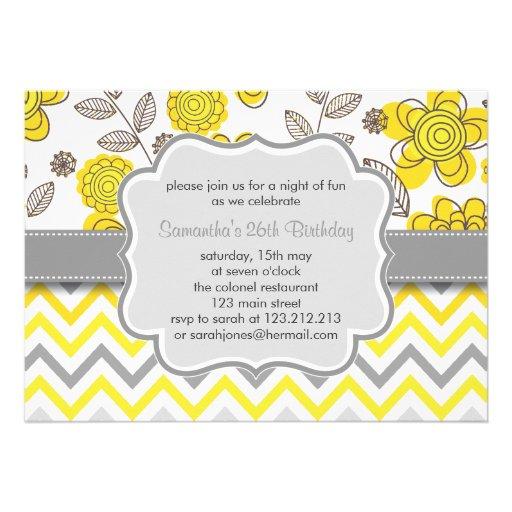 Yellow & Grey Chevron Floral Modern Birthday Party Custom Invites
