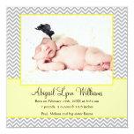 Yellow Grey Chevron Girl Photo Birth Announcement