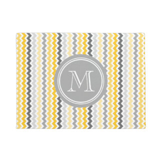 Yellow Grey Chevron Grey Monogram Doormat