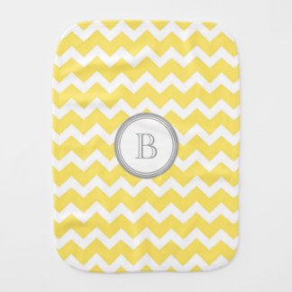 Yellow Grey Chevron Monogram Burp Cloth