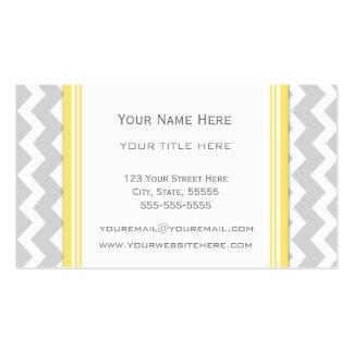 Yellow Grey Chevron Retro Business Cards