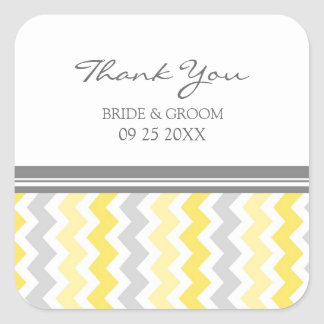 Yellow Grey Chevron Thank You Wedding Favor Tags