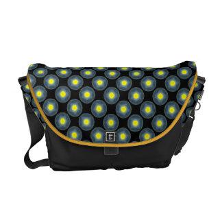 yellow grey circle pattern messenger bags