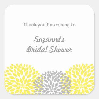 Yellow Grey Dahlia Bridal or Baby Shower favor tag