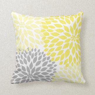 Yellow Grey Dahlia floral pillow