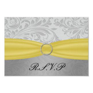 """yellow-grey"" damask  rsvp standard 3.5 x 5 9 cm x 13 cm invitation card"