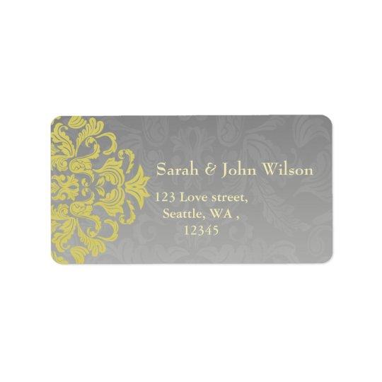 """yellow grey"" elegance return address label"