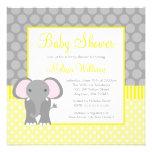 Yellow Grey Elephant Polka Dot Boy Baby Shower Invite