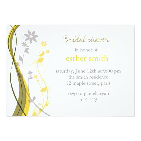 Yellow & grey floral charm invitation
