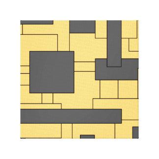 Yellow Grey Geometric Abstract Art Canvas Print