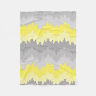 Yellow Grey Gray Ombre Chevron Zigzag Fleece Blanket
