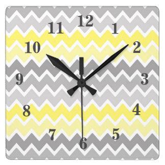 Yellow Grey Gray Ombre Chevron Zigzag Pattern Square Wall Clock