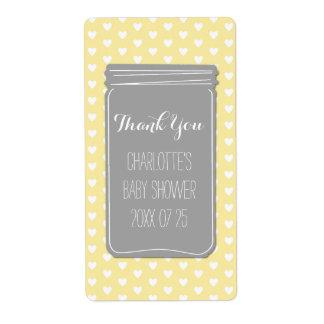 Yellow Grey Heart Mason Jar Baby Shower Favor Shipping Label