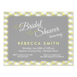 Yellow & Grey Herringbone Border Bridal Shower 11 Cm X 14 Cm Invitation Card